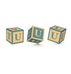 Letter u wooden alphabet blocks vector