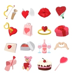 Love cartoon icons set vector image