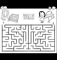 maze activity game with kids and playground vector image vector image