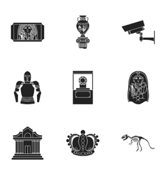 Museum set icons in black style Big collection of vector image vector image