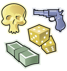 objects for crime and danger vector image vector image