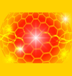 Orange hexagon circle and light abstract vector