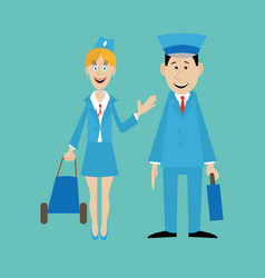 pilot and the stewardess isolated vector image vector image