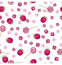 Raspberry lollipops candy and chewing gum pattern vector