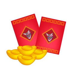 Red envelopes and gold ingots for chinese new year vector