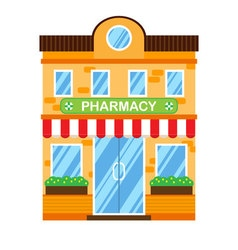 Retro building with pharmacy Flat design vector image