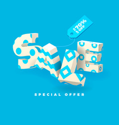 sale 3d sign blue invert vector image vector image