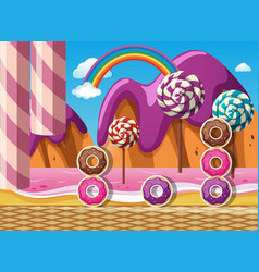 Scene with donuts and lollipops by the beach vector