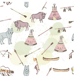 seamless pattern with american indian elements vector image vector image