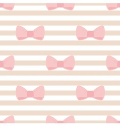 Seamless stripes pattern with pastel pink bows vector image