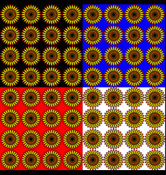 set of sunflowers in different colored backgrounds vector image vector image