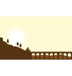 Silhouette of long bridge landscape vector