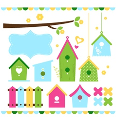Spring colorful bird houses isolated on white vector