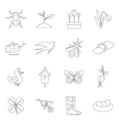 Spring icons set outline style vector