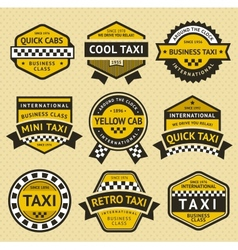 Taxi cab set insignia vintage style vector image