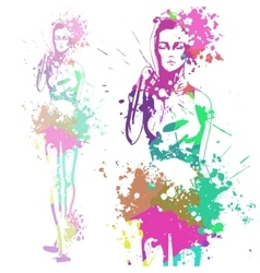Trendy look girl with color splashes vector