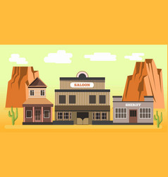 Western saloon and sheriff in desert colorful vector