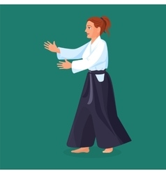 Woman is practicing her defending skills in vector