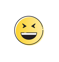 yellow smiling cartoon face laugh positive people vector image vector image
