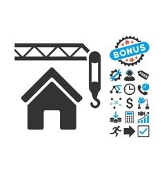 Home construction flat icon with bonus vector