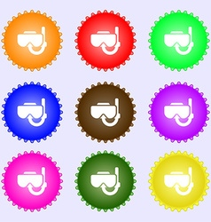 Diving mask icon sign big set of colorful diverse vector