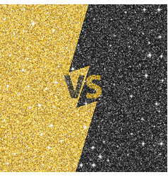 Versus glitter letters black and gold vs text vector