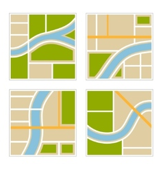 Set of abstract city map vector