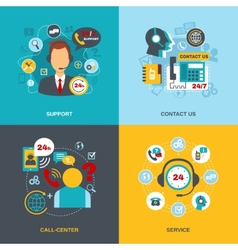 Support contact call center flat vector