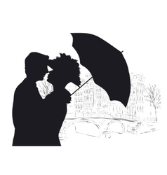 Happy young lovers couple kissing in amsterdam vector