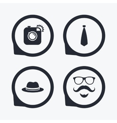 Hipster photo camera icon glasses symbol vector