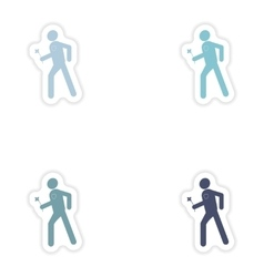 Set of paper stickers on white background man with vector image