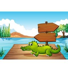 A crocodile near the pond vector image vector image