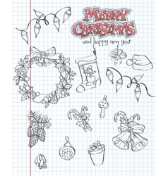 A set of Christmas items Gifts toys garlands Black vector image