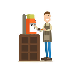 barista making coffee in flat vector image vector image
