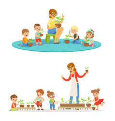biology lesson in kindergarten children looking vector image vector image