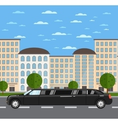 Black luxurious limousine on road in city vector image