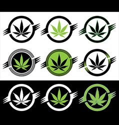 Cannabis marijuana hemp leaf silhouette stamps vector