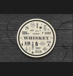 coaster for whiskey and alcoholic beverages vector image vector image