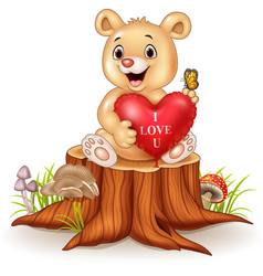 cute bear holding red heart balloons on tree stump vector image vector image