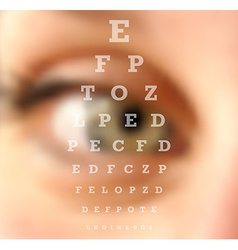 Eye test vision chart blurred effect vector