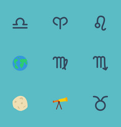 flat icons zodiac sign bull comet and other vector image vector image