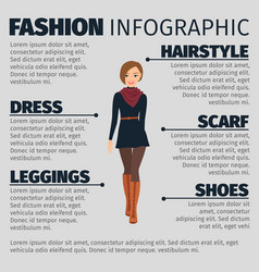 Girl in french style fashion infographic vector