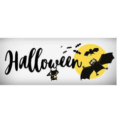 happy halloween banner comical bat vector image vector image