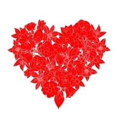 heart made of flowers vector image