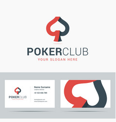 Logotype and business card template for poker club vector image vector image