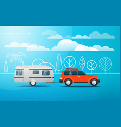 Modern car on the way vacation concept vector