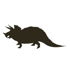 Monochrome silhouette with dinosaur triceratops vector