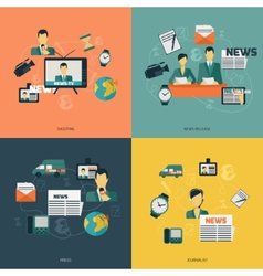News icons flat vector image vector image
