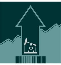 Oil pump icon on grow up arrow and bar code vector image