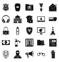 Prosecution icons set simple style vector
